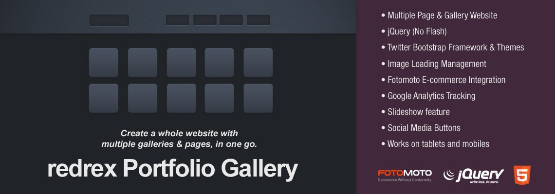 redrex Portfolio Web Gallery for Lightroom Banner